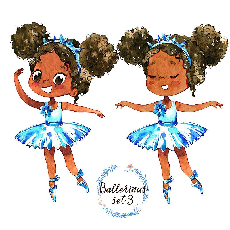 公主,小的,舞蹈,绘画插图,连衣裙,非洲人,芭蕾舞者,芭蕾短裙,跳