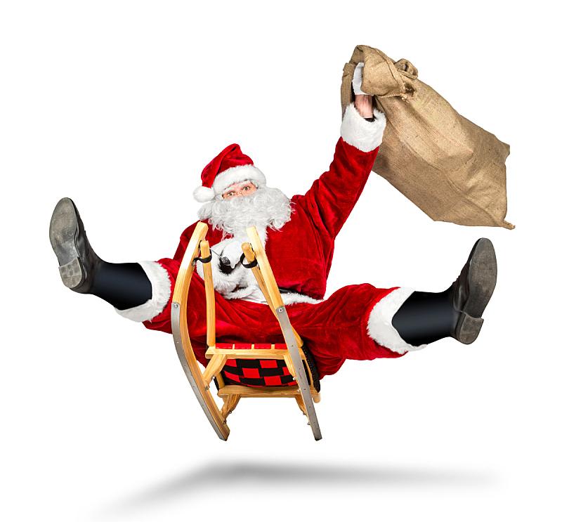 动物雪车,圣诞老人,圣诞礼物,乐趣,奇异的,雪,古典式,男性,仅男人,仅成年人