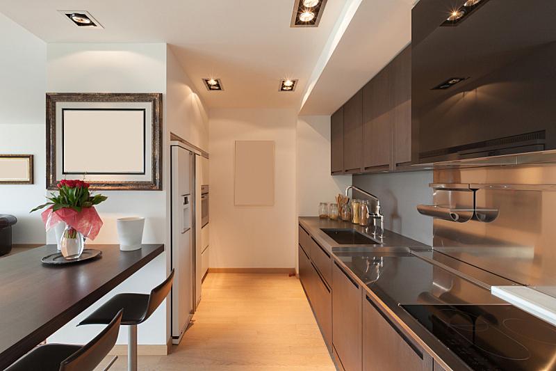 现代,厨房,褐色,座位,水平画幅,墙,无人,家庭生活,天花板,家具