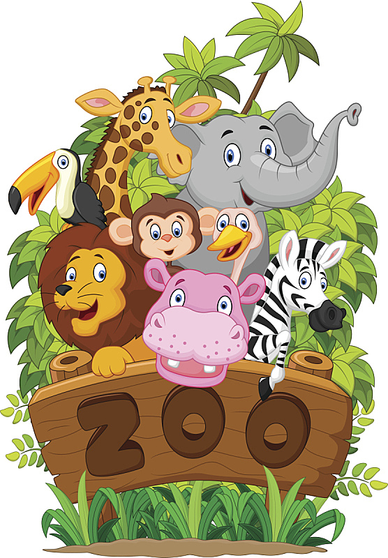 动物,动物园,拟人笑脸,斑马,绘画插图,鸟类,猴子,性格,热带雨林,野外动物