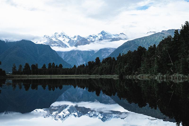 湖,新西兰,地形,山,自然美,福克斯冰河,马瑟森湖,飘然,环境保护,雪