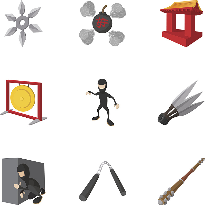 忍者,符号,漫画,投掷之星,索连棍,铜锣,图像技术,刀,图标