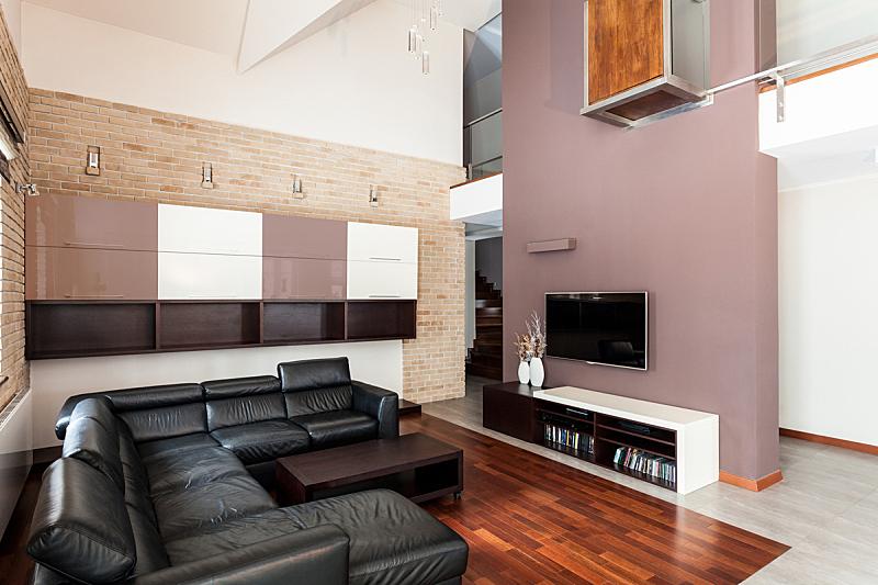 现代,起居室,房屋,褐色,水平画幅,无人,皮革,家具,沙发,白色