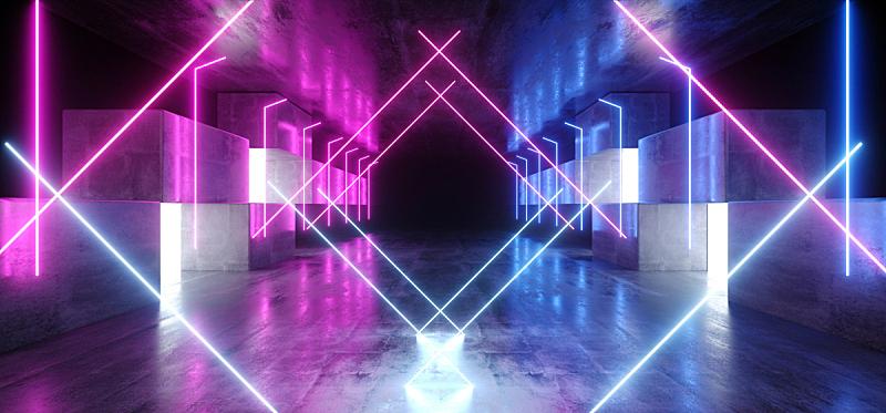 隧道,三维图形,未来,霓虹灯,蓝色,黑色,指挥台,车库,网络空间,发光