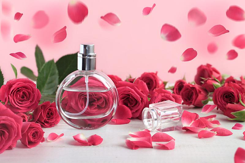 瓶子,清新,香水瓶,粉色,玫瑰,花瓣,与众不同,芳香的,情人节,spa美容