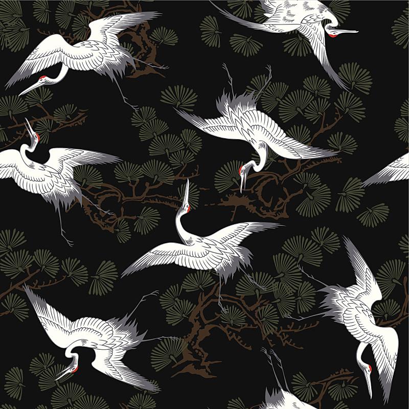 丹顶鹤,东方风格的木版艺术,鹤,昆虫群,动物主题,翅膀,哺乳纲,自然美,古典式,生物