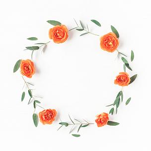 桉树,玫瑰,橙色,花环,叶子,爱沙尼亚,国际妇女节,花蕾,鲜花盛开,明信片