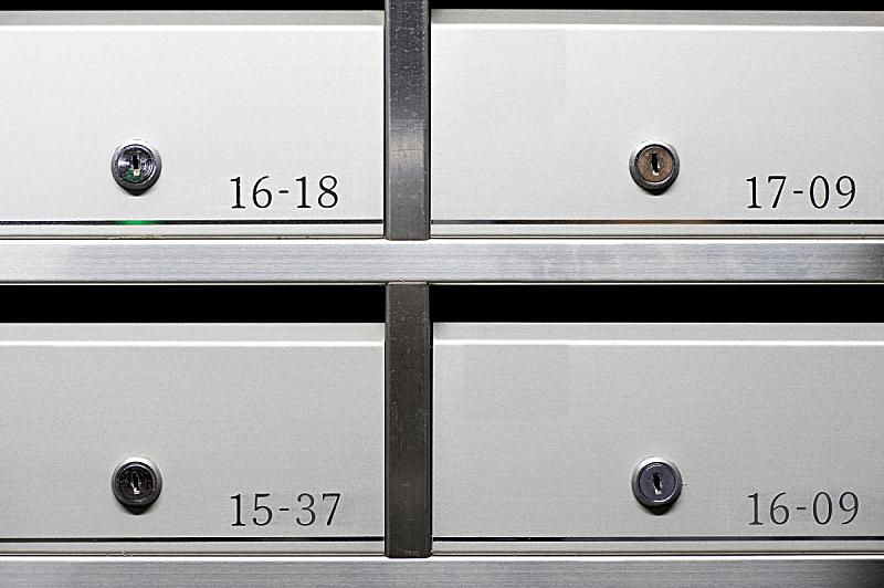整齐的,金属质感,邮筒,多样,水平画幅,格子,金属,安全,抽屉