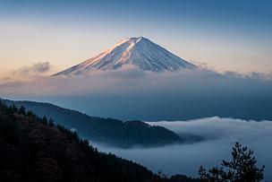 富士山,云,河口湖,火山地形,山梨县,热霾,日本,山顶,富士河口湖