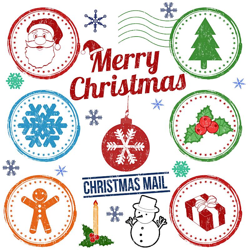橡皮章,邮戳,绘画插图,圣诞树,礼物,剪贴本,标签,圣诞老人,季节