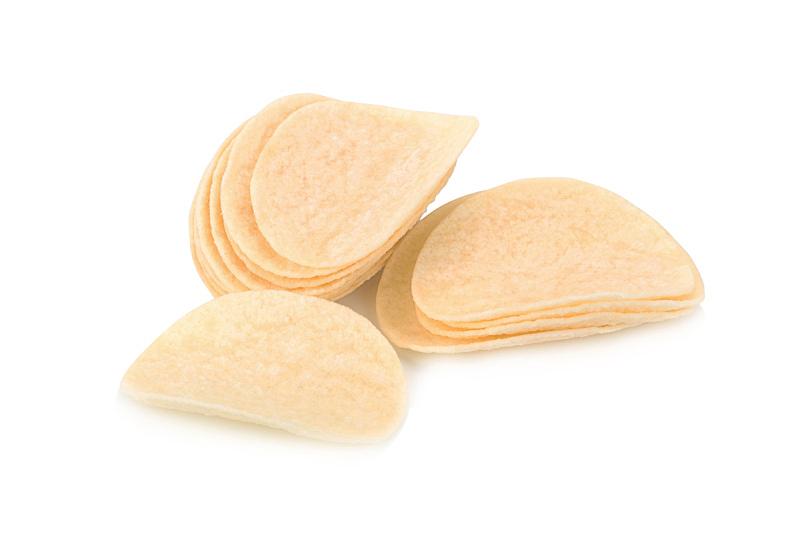 薯片,白色背景,薯条,水平画幅,无人,精制土豆,脆饼干,干的,食盐,大量物体
