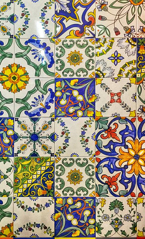 传统,式样,瓷砖,华丽的,马略尔卡陶器,大特写,垂直画幅,古董,艺术,无人