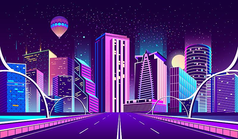 背景,城市,夜晚,霓虹灯,商务,暗色,公路,现代,河流,户外