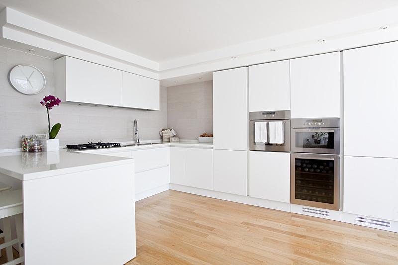 现代,时尚,厨房,新的,水平画幅,无人,家具,干净,白色,水槽