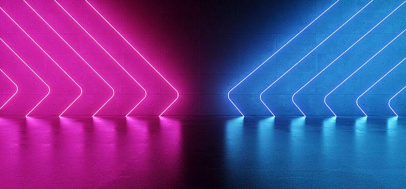 现代,背景,三维图形,未来,粉色,霓虹灯,蓝色,黑色,反射,发光