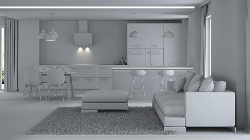 现代,三维图形,房屋,室内,灰色,水平画幅,无人,椅子,家具,俄罗斯