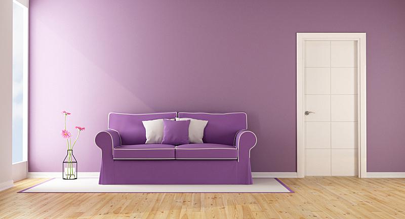 紫色,起居室,水平画幅,墙,无人,家具,现代,沙发,白色,三维图形