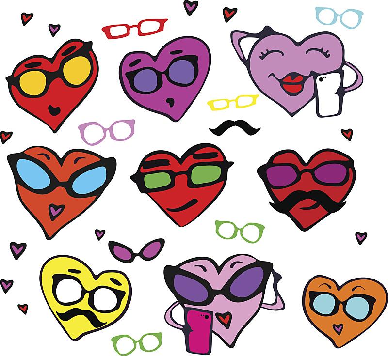 乐趣,情人节,动物心脏,与众不同,舞台,可爱的,美术工艺,浪漫,情人节卡,面部表情