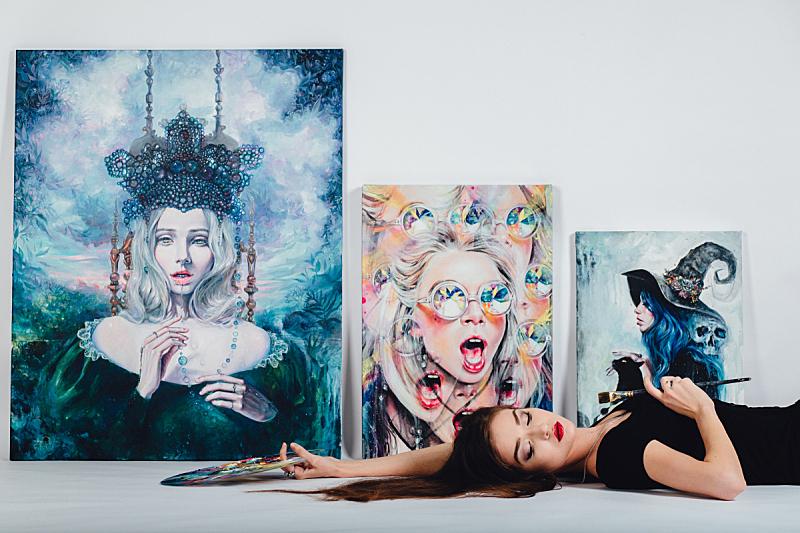 艺术家,画布,女性,绘画艺术品,女孩,白色背景,画架,青少年,画笔