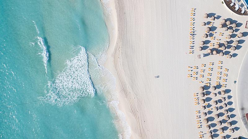 无人机,海洋,海滩,留白,航拍视角,自然美,风景,青绿色,顶部,印度次大陆