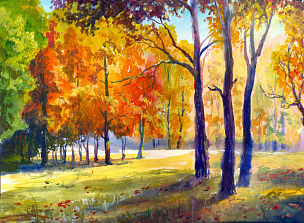 秋天,地形,水彩画,九月,秘密,十月,水彩画颜料,飘然,美术工艺,橙色
