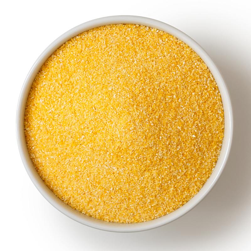 玉米粉,波伦塔,碗,在上面,白色,分离着色,甜玉米,粥,黄色,白色背景