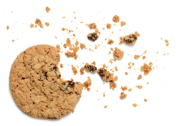 葡萄干,麦片,面包屑,碎屑,饼干,水平画幅,无人,不健康食物,白色背景,背景分离