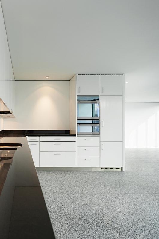 现代,室内,厨房,抽屉,垂直画幅,新的,墙,无人,家庭生活,天花板