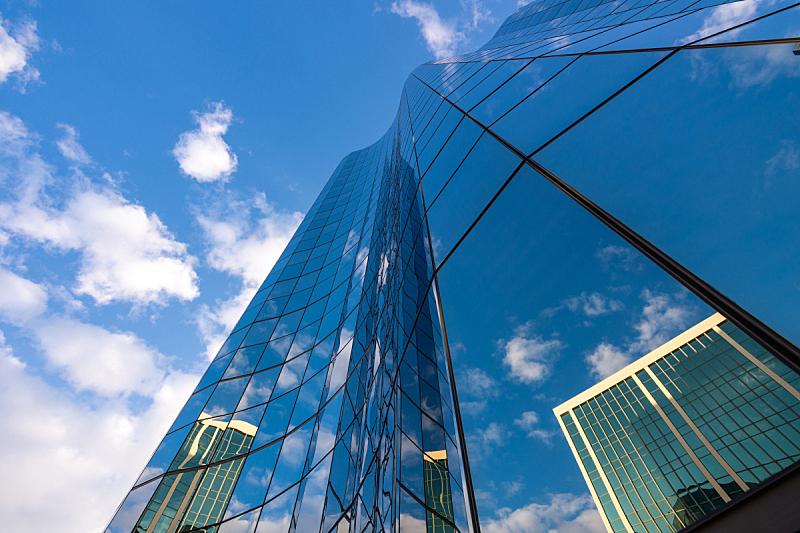 天空,非凡的,蓝色,办公大楼,低的,角度,长滩,正下方视角,留白,未来