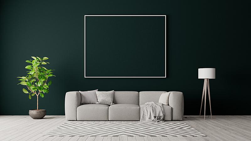 现代,三维图形,家具,墙,绿色,正下方视角,灰色,室内设计师,极简构图