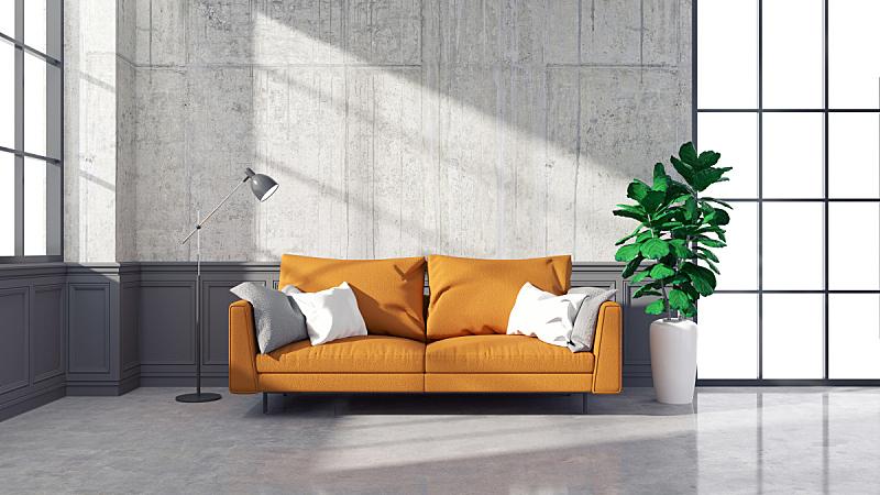 沙发,复式楼,起居室,橙色,室内设计师,迷人,混凝土墙,三维图形,水平画幅,无人