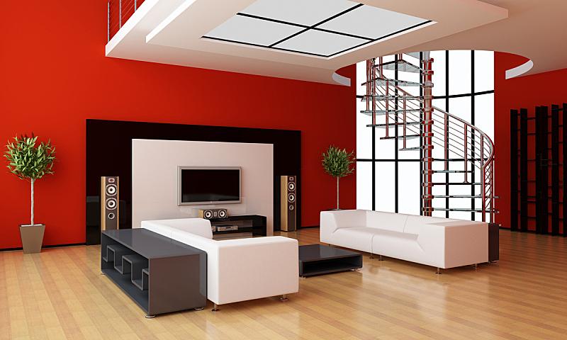 现代,住宅房间,室内,美,水平画幅,形状,墙,硬木地板,家庭生活,灯