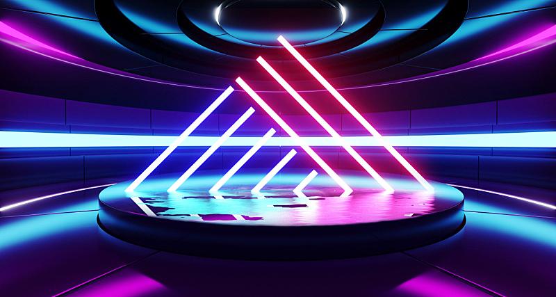 现代,走廊,背景,三维图形,未来,荧光灯,霓虹灯,激光,蓝色,发光
