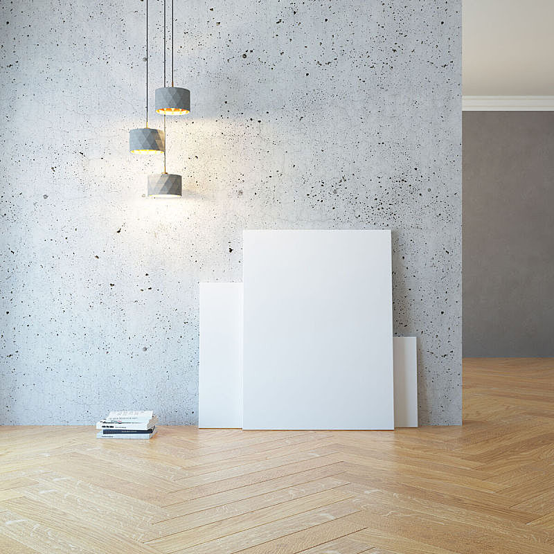 绘画艺术品,空的,空白的,住宅房间,照明设备,帆布,画布,画廊,围墙,墙