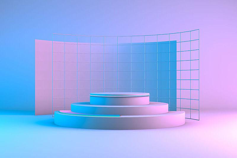 霓虹灯,空白的,商品,商务,空的,几何形状,圆柱体,技术,地板,目录