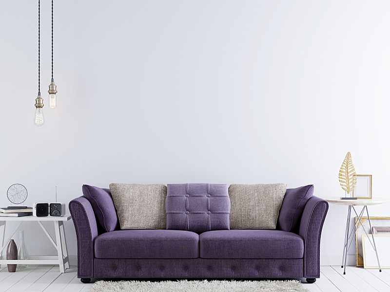 空的,沙发,现代,轻蔑的,墙,潮人,桌子,紫色,正下方视角,白色