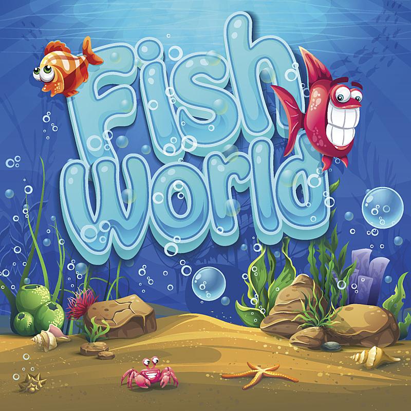 绘画插图,水下,鱼类,矢量,背景,水,沙子,野外动物,夏天,在底端