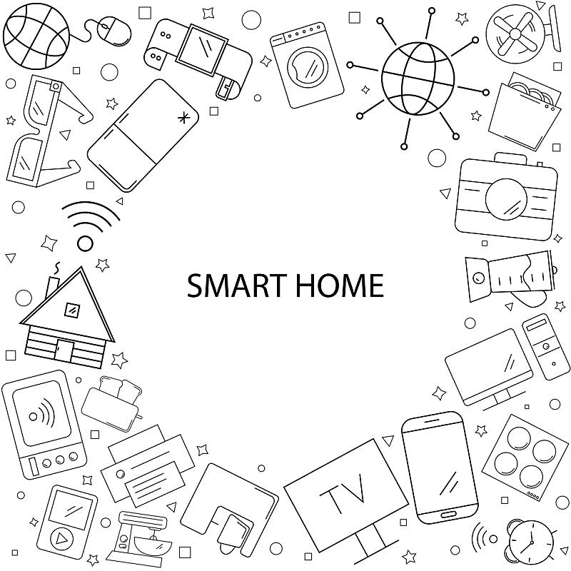 智慧,矢量,背景,式样,线图标,住房,直的,未来,绘画插图,安全