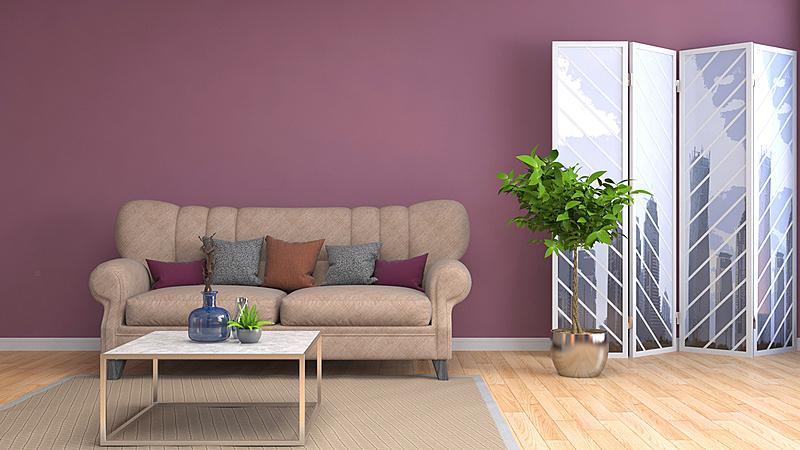 沙发,室内,三维图形,绘画插图,普罗旺斯,褐色,座位,水平画幅,无人,装饰物