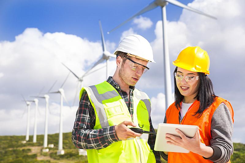 工程师,风轮机,天空,领导能力,风,半身像,风力,能源,涡轮,仅成年人