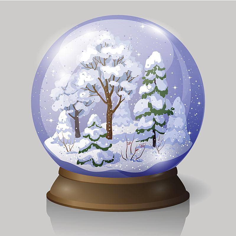 雪花球,透过窗户往外看,雪,纪念品,绘画插图,圣诞树,代币,针叶树,剥落