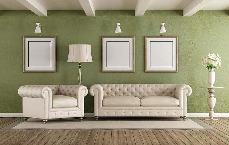 白色,绿色,起居室,简单,白灰泥,边框,水平画幅,无人,硬木地板,家庭生活