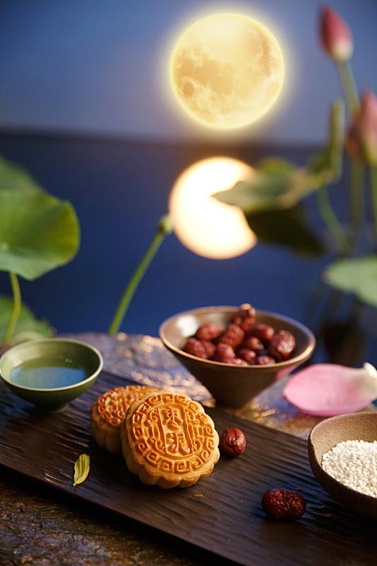 月饼,秋天,中间,中秋节,枣,夜晚,中国食品,池塘,月亮,传统节日