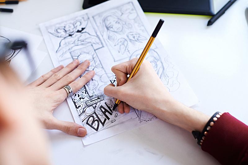 漫画书,男性,手,艺术家,铅笔画,设计师,草图,计划书,创造力