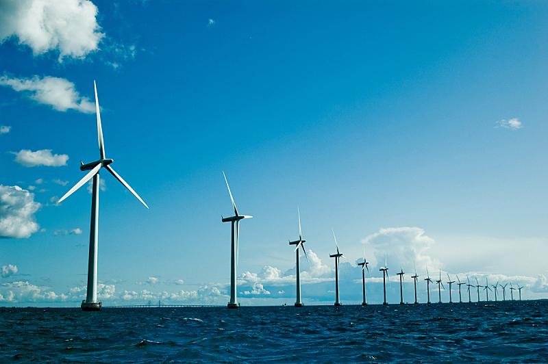 水平画幅,风轮机,水,天空,风,风力,能源,无人,涡轮,夏天