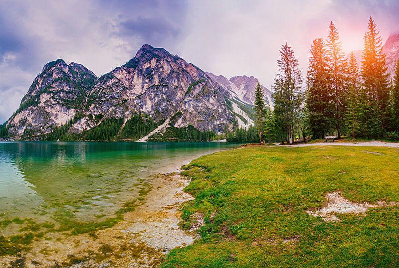 湖,山,在之间,哈尔施塔特湖,天空,度假胜地,水平画幅,无人,海港,早晨