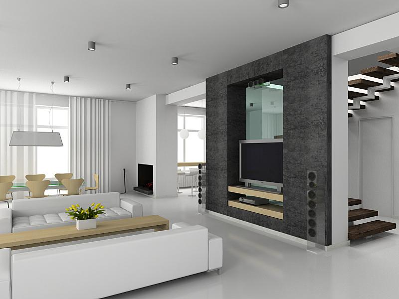 现代,室内,住宅内部,黑白图片,华贵,美,水平画幅,形状,墙,椅子