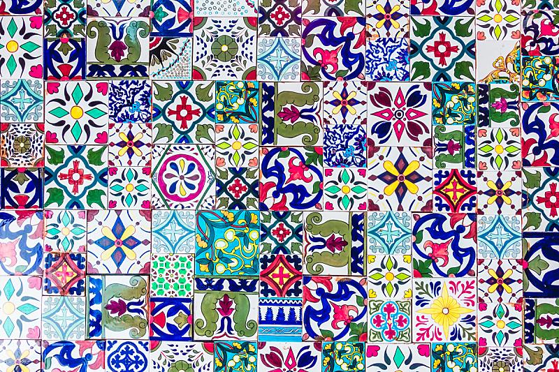 摩洛哥,瓷砖,镶嵌图案,纹理,水平画幅,无人,满画幅,多色的,图像,摄影