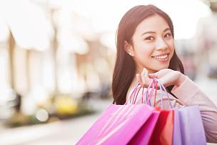 购物中心,女人,购物狂,顾客,购物袋,亚洲人,美,水平画幅,美人,商店