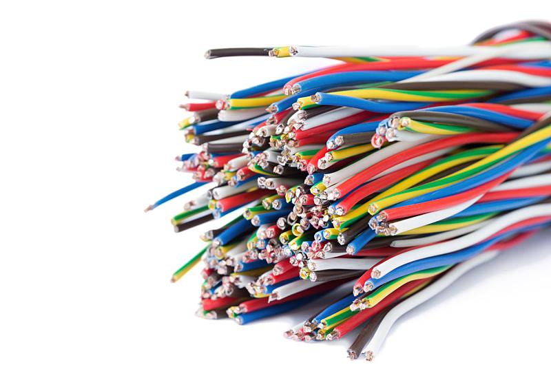 白色,电力电缆,分离着色,太空,电缆,水平画幅,能源,金属,特写,金属丝
